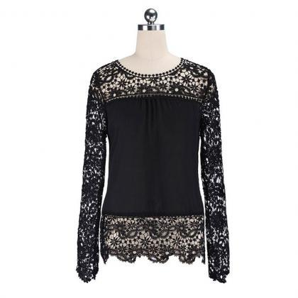Lace Tops Chiffon Shirt Womens Ladi..