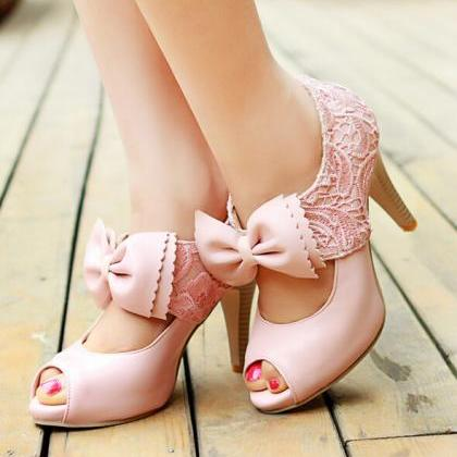 Fashion Lace Big Bow High-Heeled Sa..
