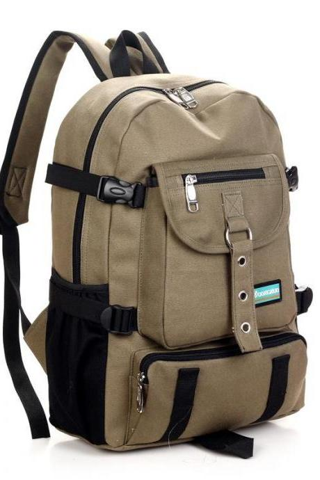 Canvas Backpack Unisex College Casual Pure Color