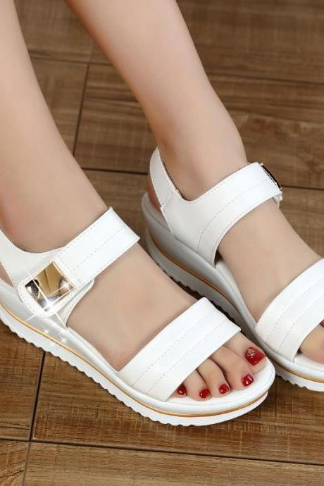 Sandals Women Casual Solid Wedge Heel Platform