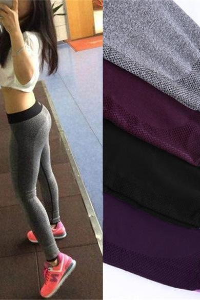 Womens Hot Sale Solid Yoga Sport Running Brethable Pants