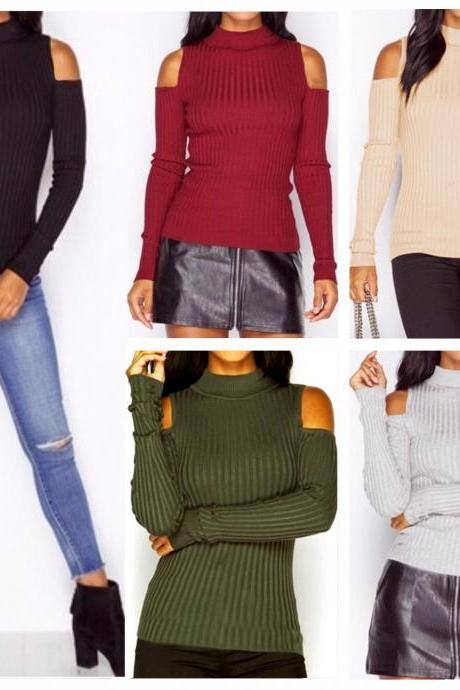 Ribbed Knit Mock Neck Cold Shoulder Long Sleeves Top