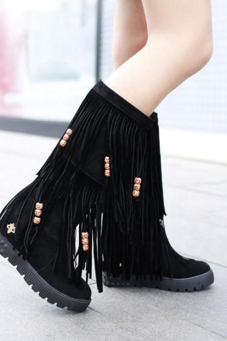 Suede Tiered Tassel Medium-Length Boots