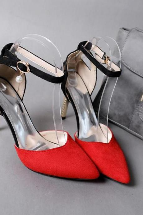 Women's Colour-matching Pointed Toe Pump Sandals