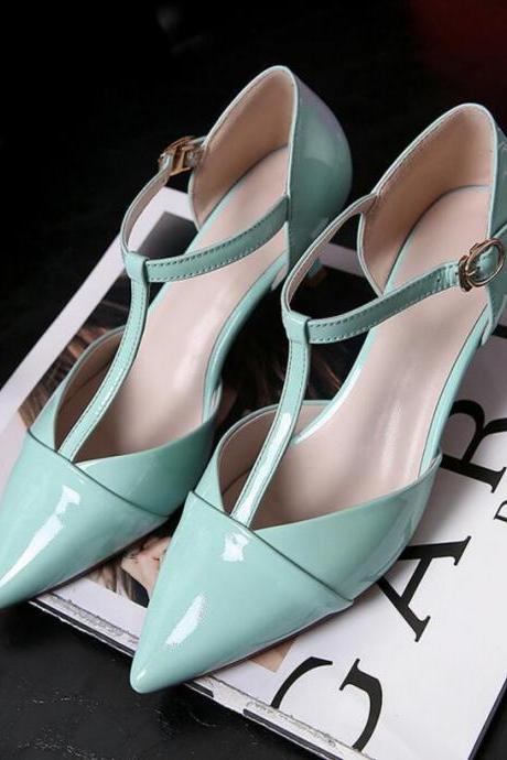 Patent Leather T-Strap Pointed Toe Kitten Heel Pumps