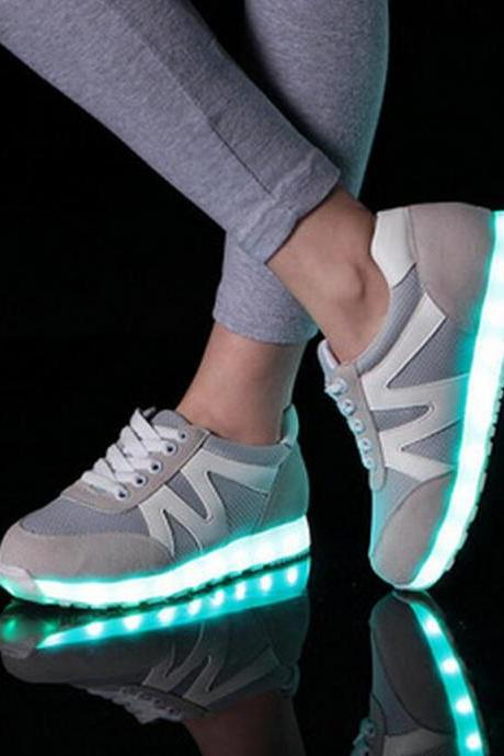 Women's Korean Usb Charging Led Fluorescence Leisure High Top Spartan