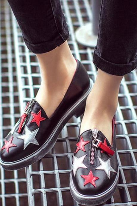 Sneakers Women New Leather Mixed Colors Shoes Zipper Round Toe