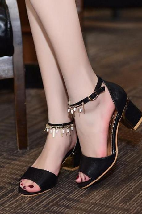 Sandals Women Fashion Beaded Chain Hasp Solid Peep Toe Thick Heel