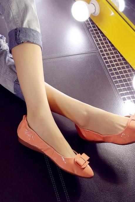 Womens Bowknot Solid Pointed Toe Ballerina