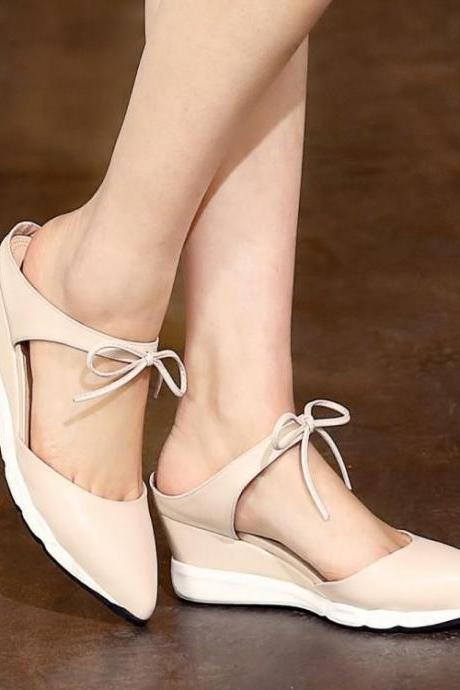 Womens Bow Wedge Solid Pointed Toe Sandals