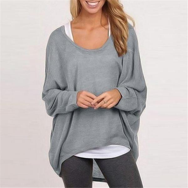 2017 Womens Full Sleeved Knit Pure Color Loose Sweatershirt