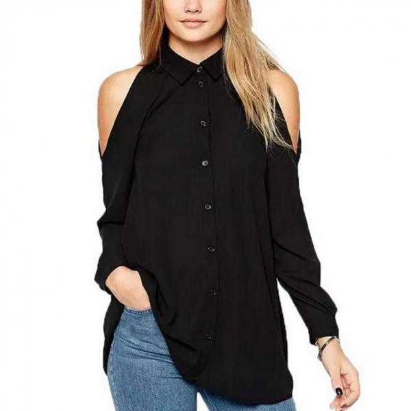 Womens Pure Color Off Shoulder Casual Chiffon Shirt Long Sleeve Blouse